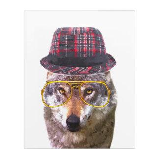 Funny wolf woodland animal watercolor acrylic print