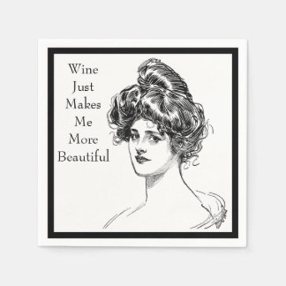 Funny Woman Quote Wine Makes Me More Beautiful Paper Napkin