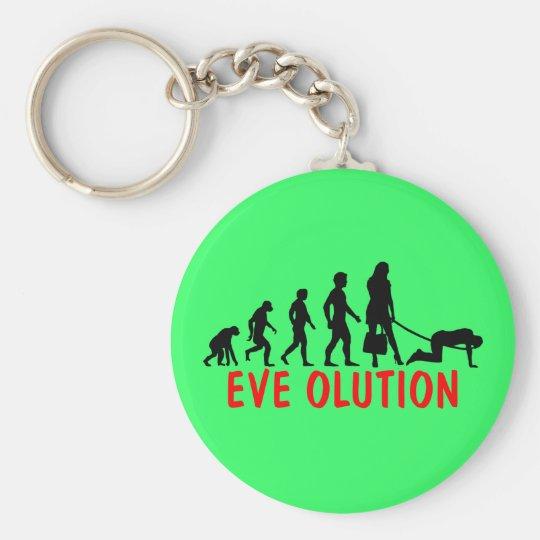Funny women's evolution basic round button key ring
