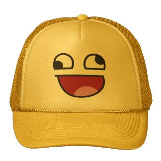 Funny Wonky Eyed Whatever emoji Cap