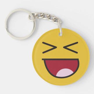 Funny Wonky Eyed Whatever emoji Single-Sided Round Acrylic Key Ring