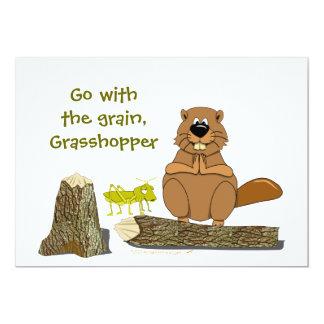 Funny Wood Turning Beaver and Grasshopper Cartoon 13 Cm X 18 Cm Invitation Card
