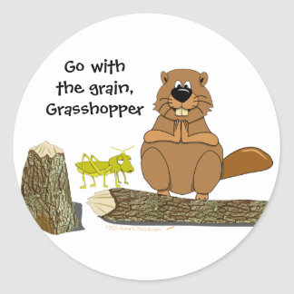 Funny Wood Turning Beaver and Grasshopper Cartoon Classic Round Sticker