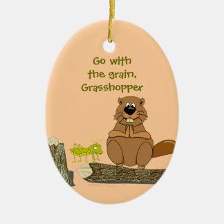 Funny Wood Turning Beaver and Grasshopper Cartoon Ceramic Oval Decoration