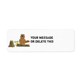 Funny Wood Turning Beaver and Grasshopper Cartoon Return Address Label