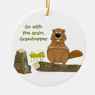 Funny Wood Turning Beaver and Grasshopper Cartoon Round Ceramic Decoration