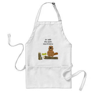 Funny Wood Turning Beaver and Grasshopper Cartoon Standard Apron