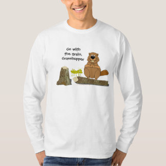 Funny Wood Turning Beaver and Grasshopper Cartoon T-Shirt