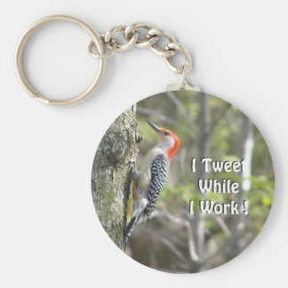 Funny Woodpecker   Original Working Tweeter Basic Round Button Key Ring