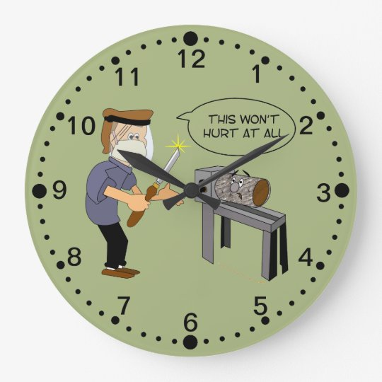 Funny Woodturning Cartoon Clock With Minutes Zazzlecouk