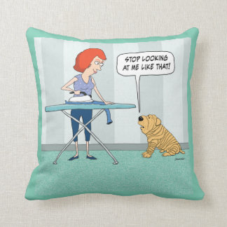 Funny Wrinkly Shar-Pei Dog Suspicious of Iron Throw Cushions