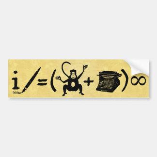 Funny Writer Monkey Typewriter Equation Bumper Sticker