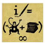 Funny Writer Monkey Typewriter Equation Poster