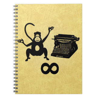 Funny Writer Monkey Typewriter Infinity Spiral Notebook