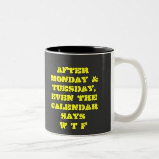 FUNNY WTF PRINT Two-Tone COFFEE MUG