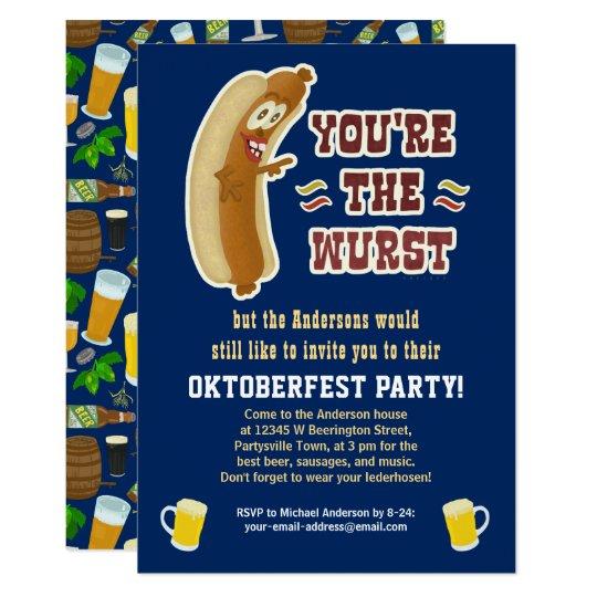Funny Wurst Bratwurst Oktoberfest Humour with Beer Card