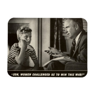 Funny WWII Father Son World War Vintage 1940s Flexible Magnet