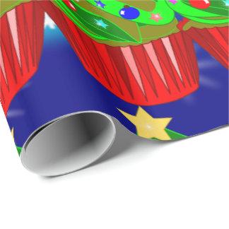 funny xmas,xmas wrapping paper,Cupcakes xmas tree Wrapping Paper