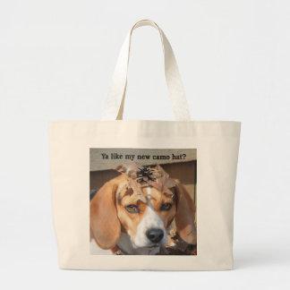 Funny Ya like my new camo hat? Beagle Dog Jumbo Tote Bag