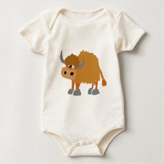 Funny Yak Primitive Art Design Baby Bodysuit