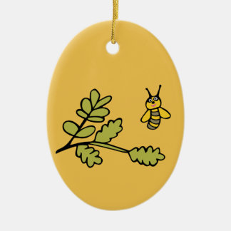 Funny yellow Bee and Leaves Christmas Ornament