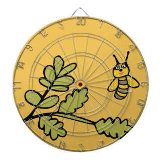Funny yellow Bee and Leaves Dartboard