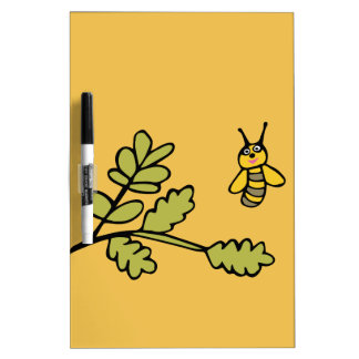 Funny yellow Bee and Leaves Dry Erase Board