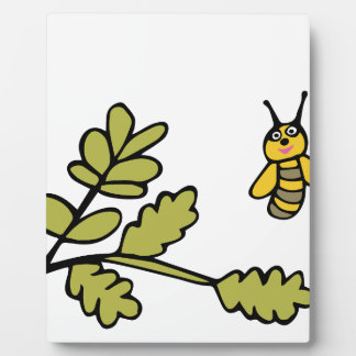 Funny yellow Bee and Leaves Plaque