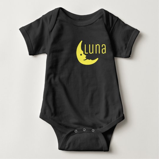 Funny Yellow Black Half Moon Luna Typography Baby