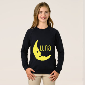 Funny Yellow Black Half Moon Luna Typography Sweatshirt