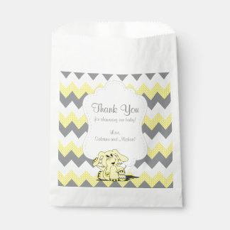 Funny Yellow Chevron Silly Cute Baby Elephant Favour Bags