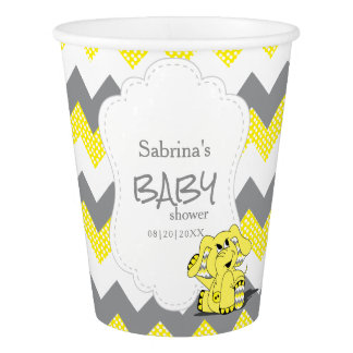 Funny Yellow Chevron Silly Cute Baby Elephant Paper Cup