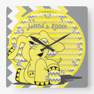 Funny Yellow Chevron Silly Elephant Kids Clock