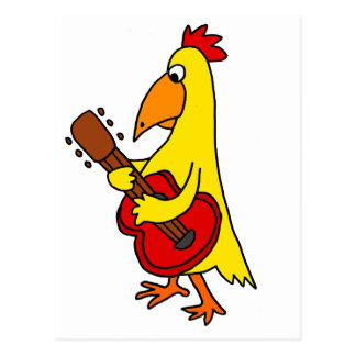 Funny Yellow Chicken Playing Guitar Postcard