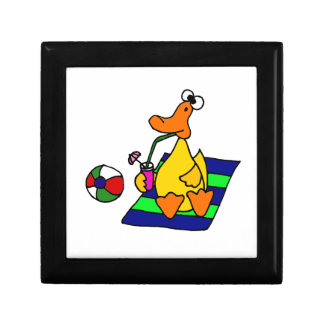 Funny Yellow Duck at the Beach Small Square Gift Box