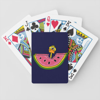 Funny Yellow Duck Eating Watermelon Bicycle Playing Cards