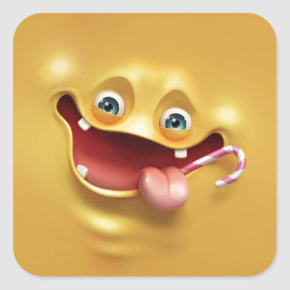Funny Yellow Face Square Sticker