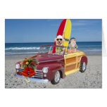Funny Yellow Lab & Cat Surfer Christmas
