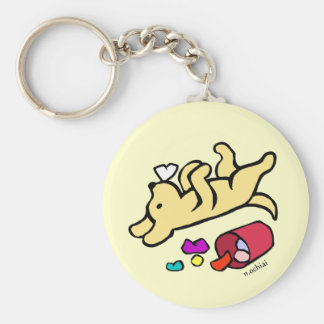 Funny Yellow Labrador Cartoon Basic Round Button Key Ring