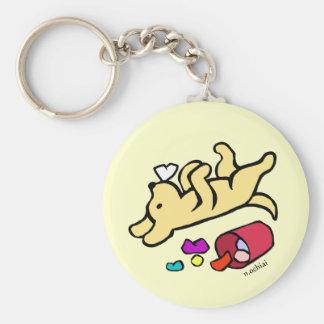 Funny Yellow Labrador Cartoon Basic Round Button Key Ring