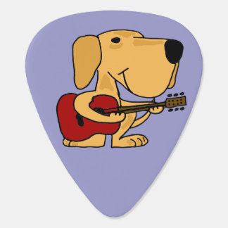 Funny Yellow Labrador Playing Guitar Plectrum