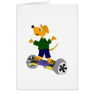 Funny Yellow Labrador Retriever Dog on Segway Greeting Card