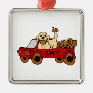 Funny Yellow Labrador Retriever in Donut Truck Christmas Ornament