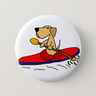 Funny Yellow Labrador Retriever Kayaking 6 Cm Round Badge