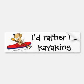 Funny Yellow Labrador Retriever Kayaking Bumper Sticker