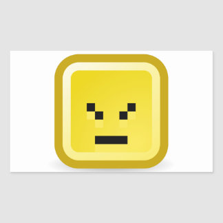 Funny Yellow Square Face Squinting Rectangular Sticker