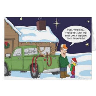 Funny Yes Virginia Reindeer Hunting Christmas Card