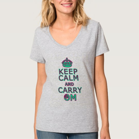 Funny yoga shirt Keep Calm Carry Om (pink
