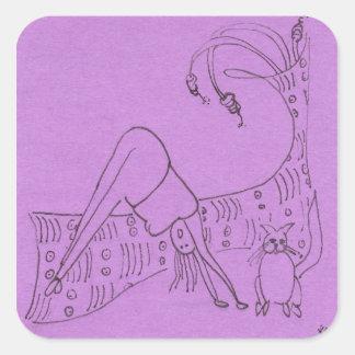 Funny Yoga Square Sticker