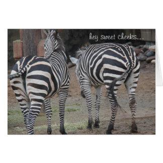 Funny Zebra Birthday, Hey Sweet Cheeks... Card